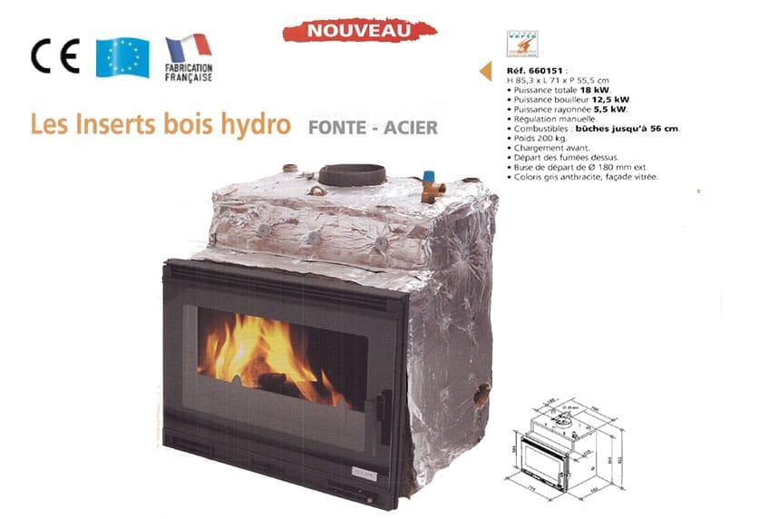 POÊLE  OSMOSE 680116 insert bois hydro ⋆ CHEMINÉE POÊLE GODIN
