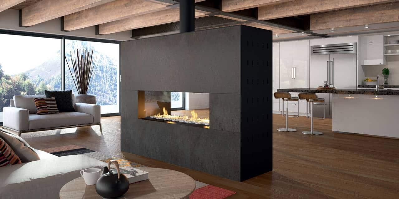 chemin e neville avec foyer gaz chemin e po le godin. Black Bedroom Furniture Sets. Home Design Ideas